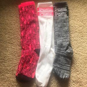 3 pairs PINK tall socks. 💖